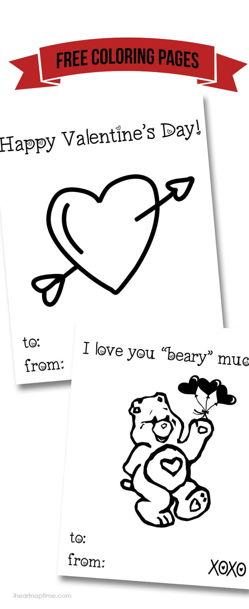 Free Valentine coloring pages ...perfect for kids to send off Valentine's to grandparents!