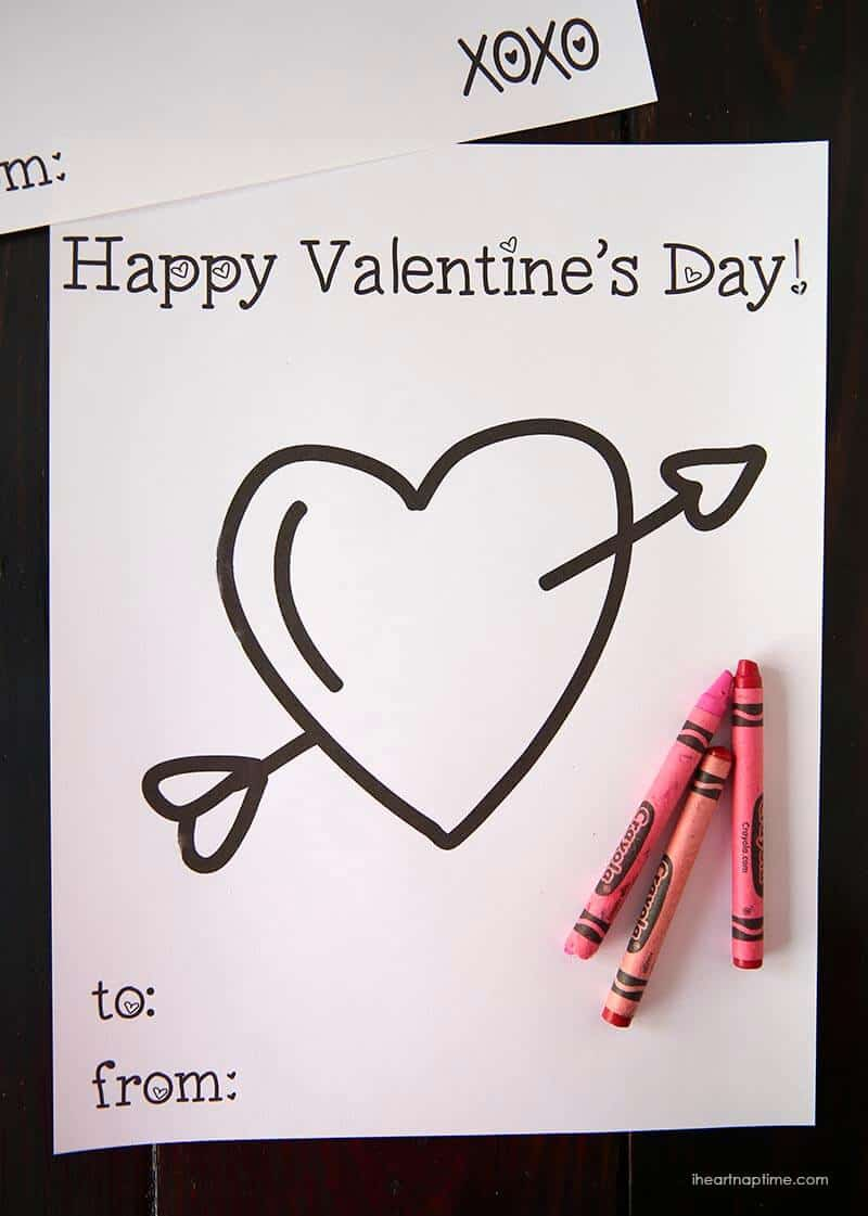 Free Valentine coloring pages for kids - I Heart Nap Time