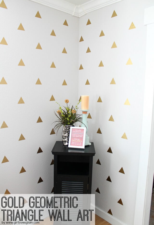 Amazing Gold Geometric Triangle Wall Art