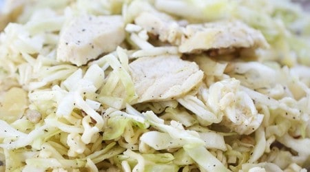 Ramen noodle cabbage salad with chicken