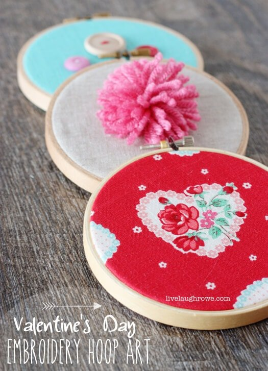 Simple and fun DIY Valentine's Day Embroidery Hoop Art with livelaughrowe.com