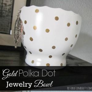 gold polka dot jewelry bowl using sharpie