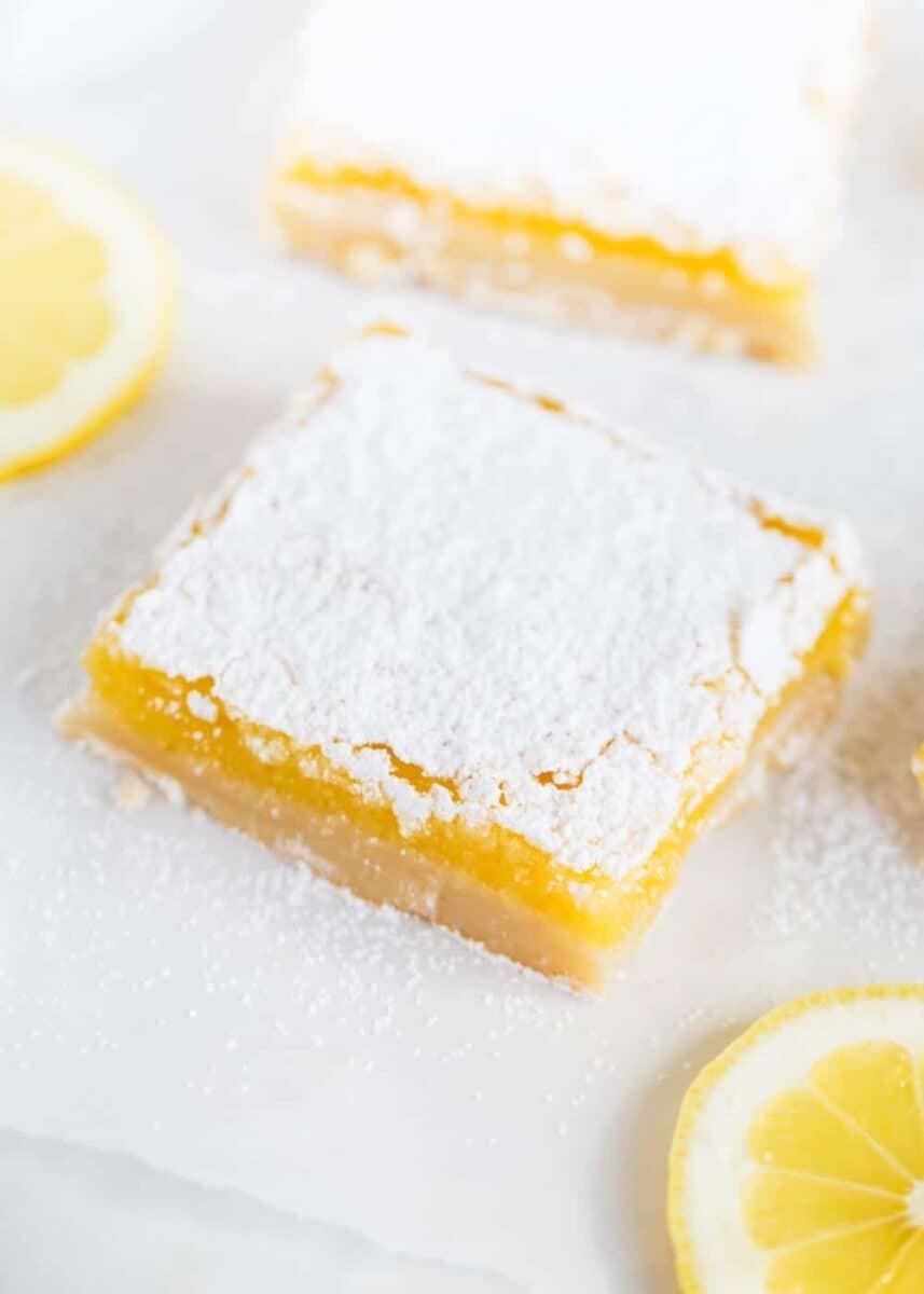 close up of a lemon square