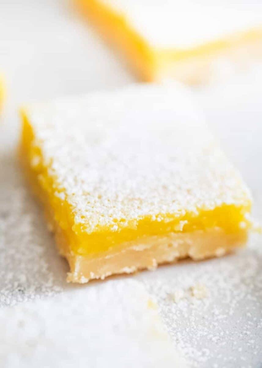 close up of a lemon bar