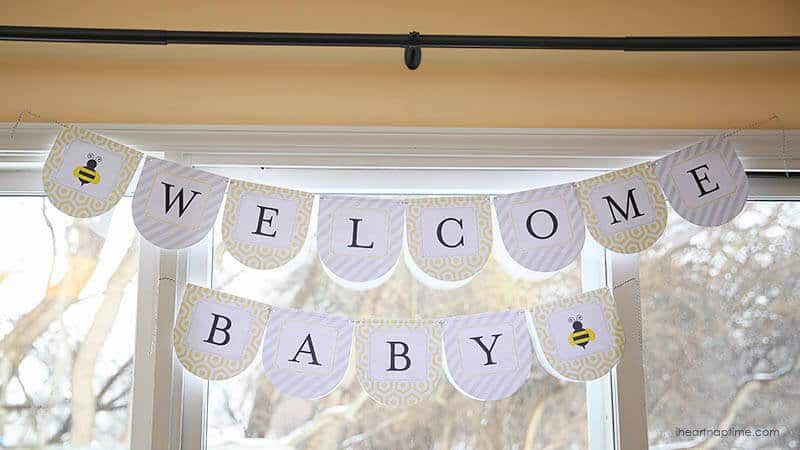 Bumble bee baby shower w free printables i heart nap time Baby shower banners
