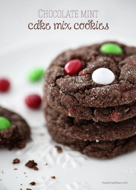 Chocolate mint M&M cake mix cookies