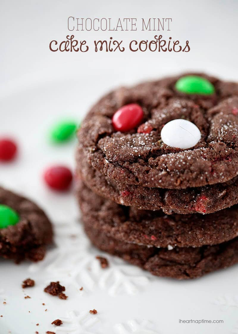 Chocolate mint cake mix cookies - I Heart Nap Time