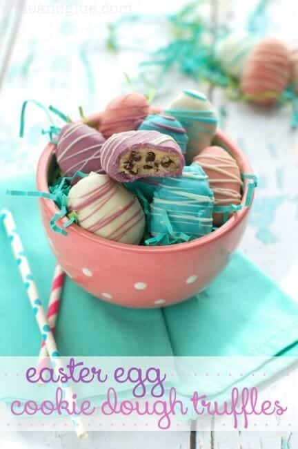 Easter Egg Cookie Dough Truffles in bowl