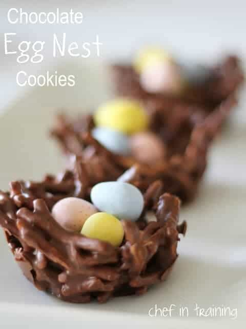 close up of Chocolate Egg Nest Cookies