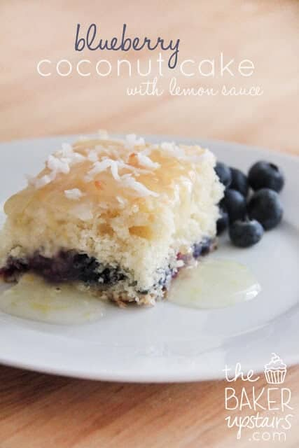 Blueberry Coconut Cake with lemon sauce on plate