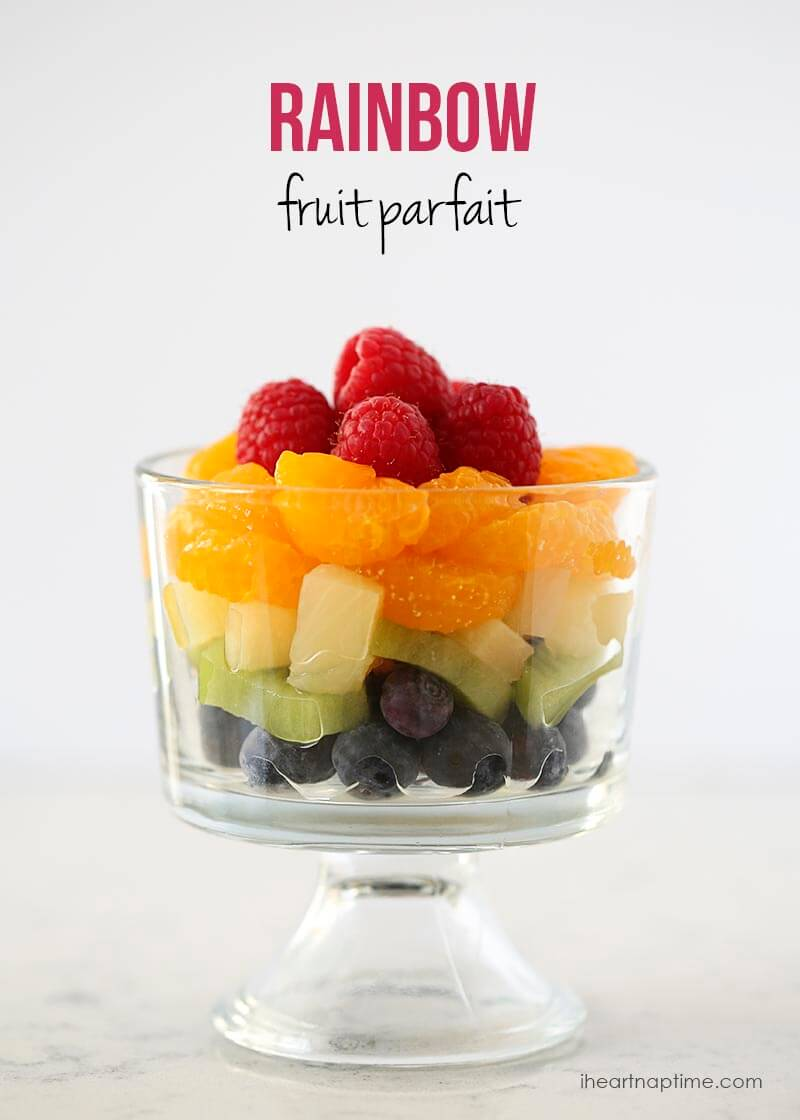 Rainbow fruit parfait from iheartnaptime.com ... A healthy way to celebrate St. Patrick's day!