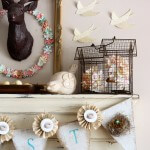 SPRING-mantel-paper-birds-ceramic-bird