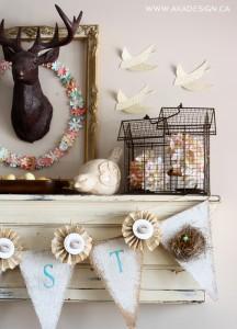 SPRING-mantel-paper-birds-ceramic-bird