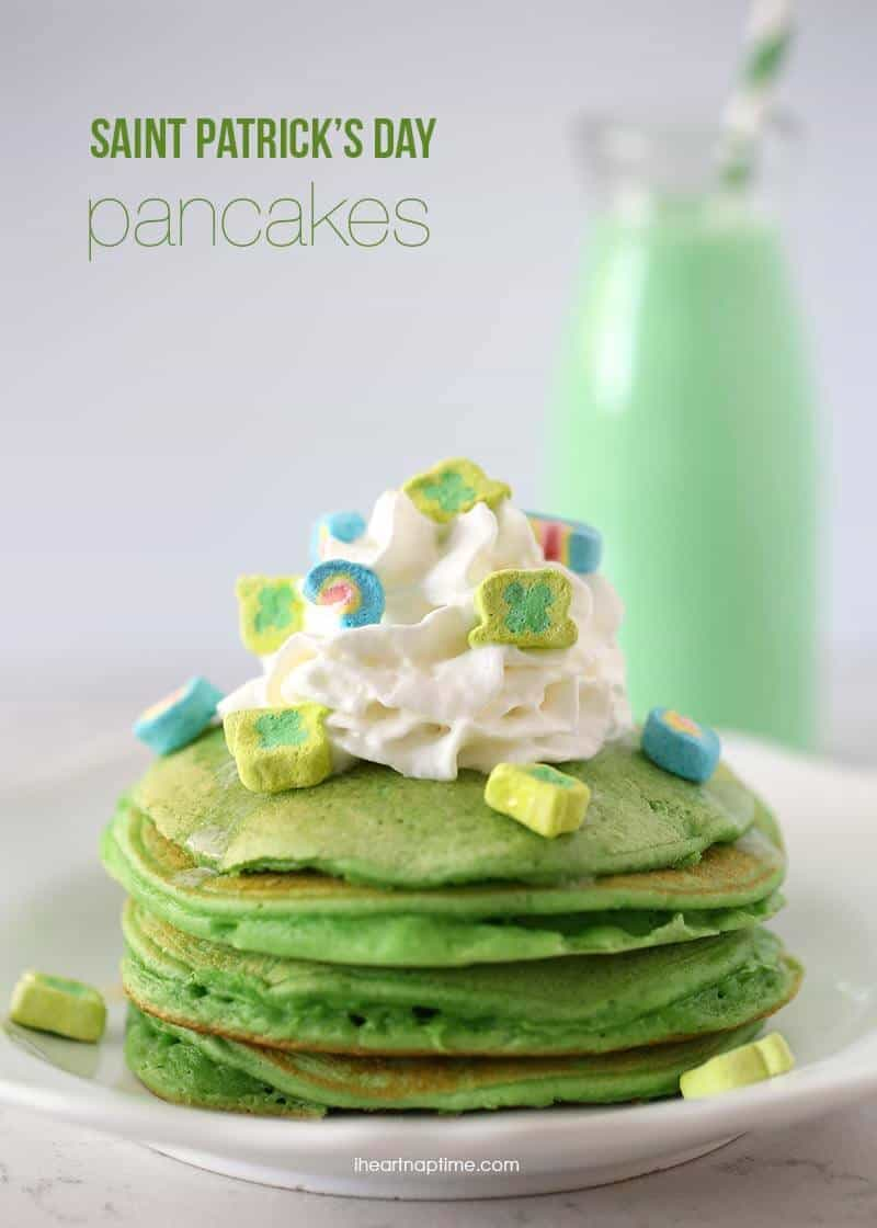 Saint Patricks Day green pancakes