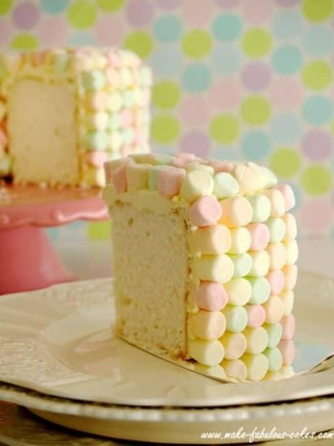 slice of angel food cake on plate