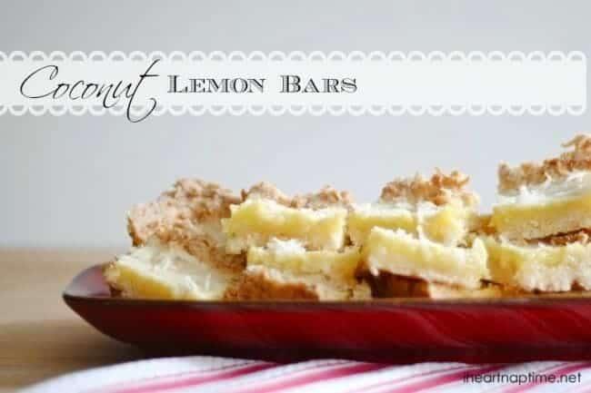coconut lemon bars on plate