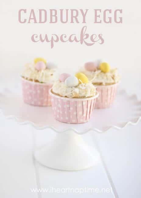 Cadbury Egg Cupcakes on platter