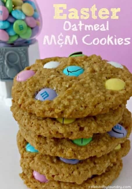 Easter Oatmeal M&M Cookies on plate