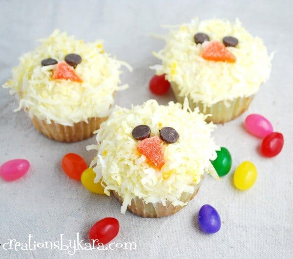 chick cupcakes on plate