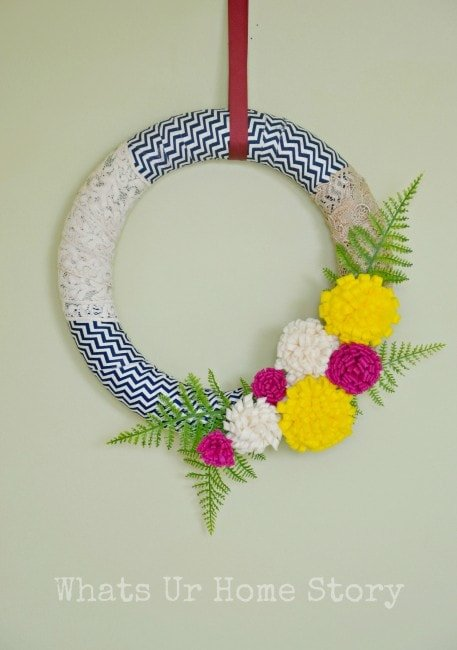 fabric scrap Spring wreath