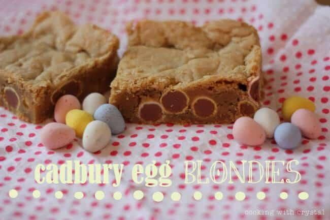 Cadbury Egg Blondies on table