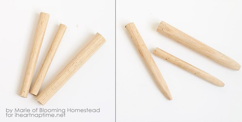 DIY Wood Carrots on iheartnaptime.com