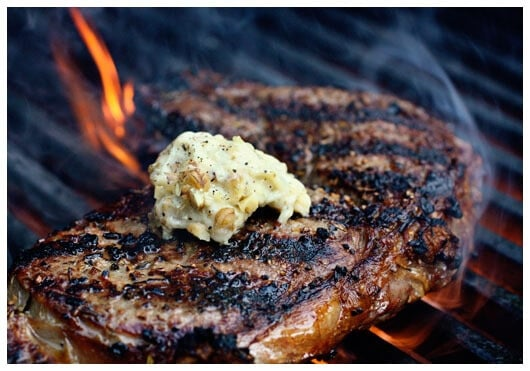 Steak with Blue Cheese Walnut Butter on grill