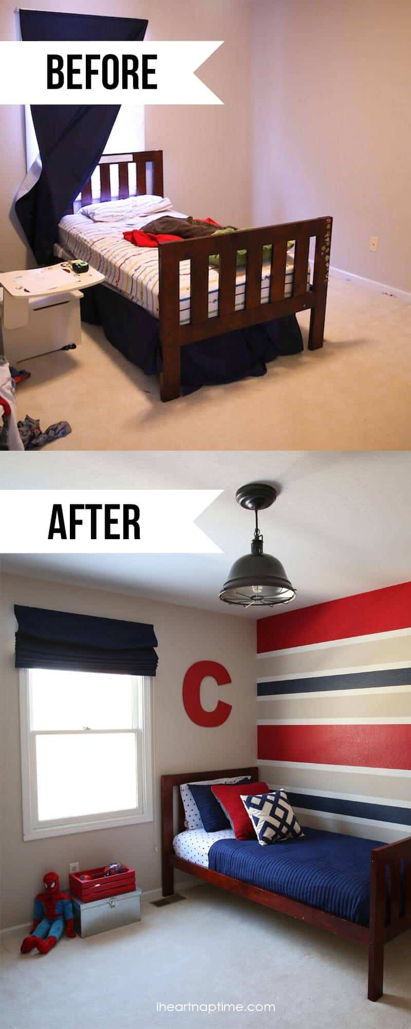 Beforea and after super hero room