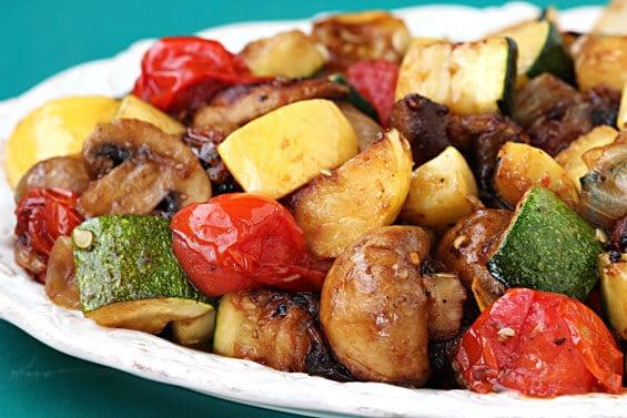 close up of grilled vegetables on platter