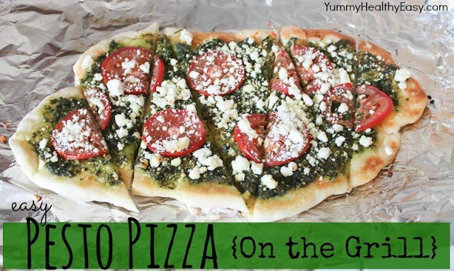 grilled pesto pizza on table