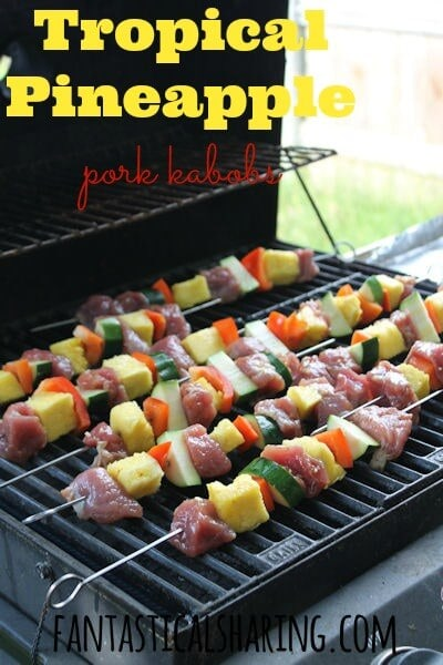 grilled pork and veggie kabobs