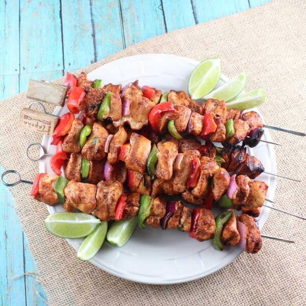 grilled meat and veggie kabobs