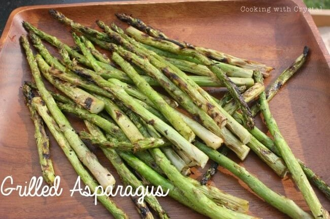 grilled asparagus on table