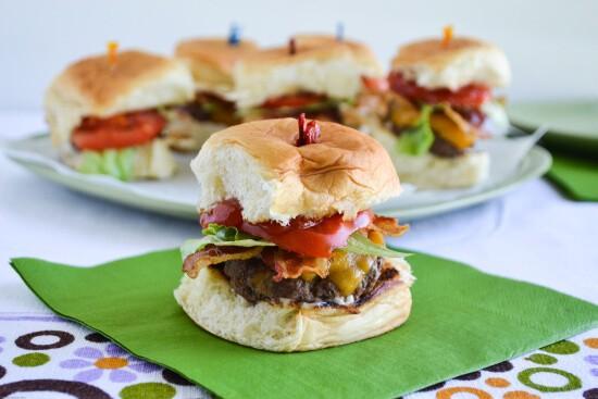 hawaiian stuffed bacon cheeseburger sliders on table