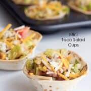 taco salad cups on table