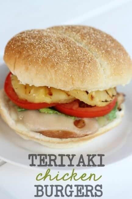 Teriyaki Chicken Burgers on plate