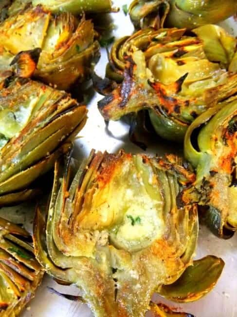close up of grilled artichokes