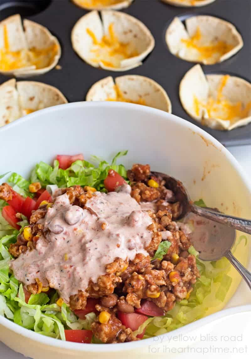 bowl of ingredients for mini taco cups