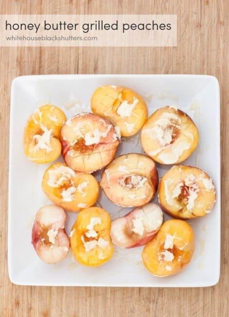 honey peaches on plate
