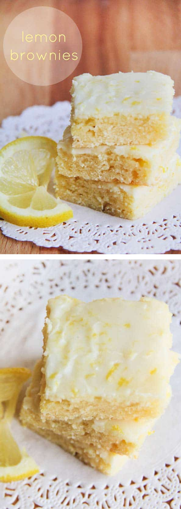 Lemon brownies AKA lemon blondies -super soft bars topped with the most delicious lemon glaze. The perfect summer dessert.