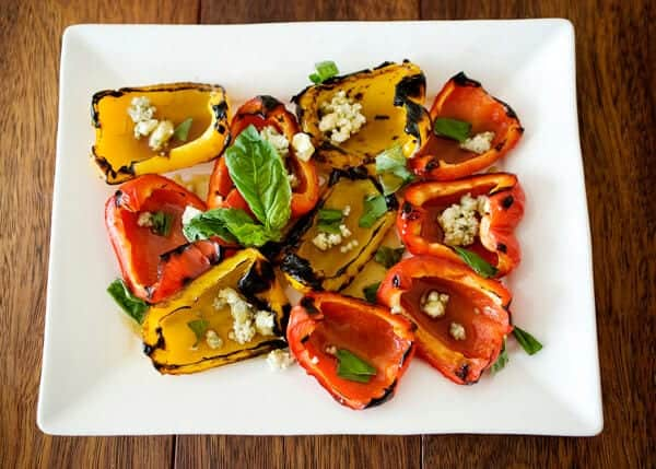 grilled pepper salad on plate