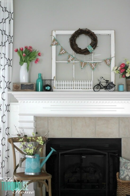 turquoise-pink-flowers-spring-mantel1