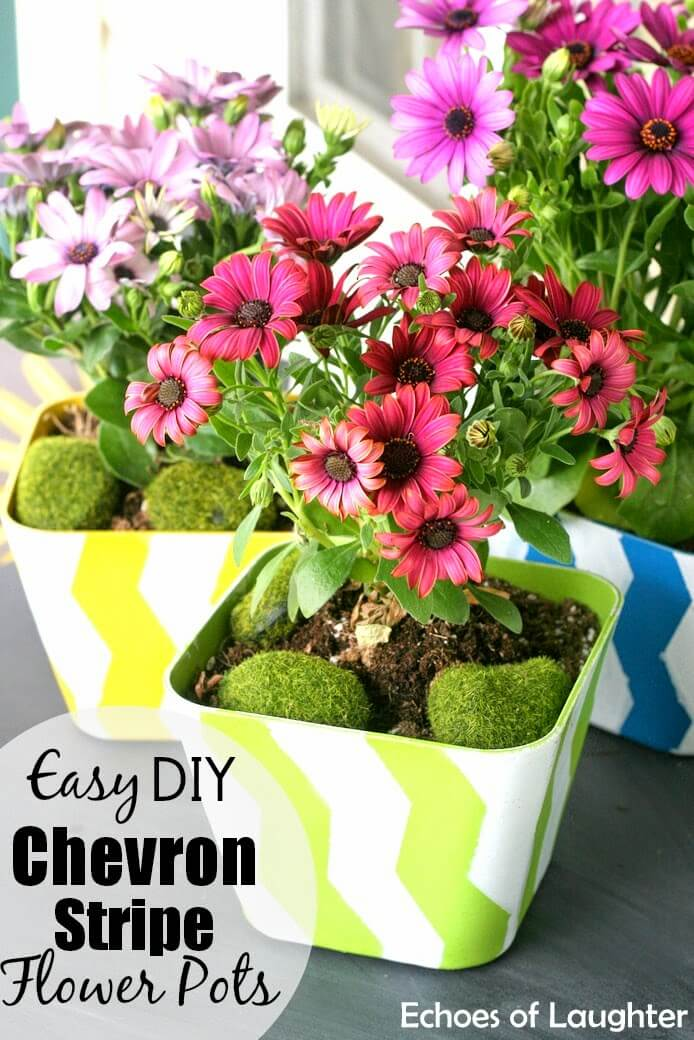 Chevron Stripe Flower Pots
