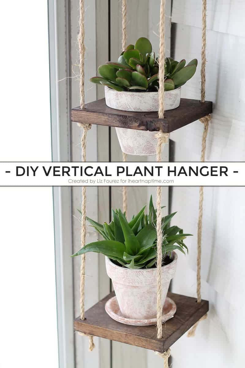 DIY Vertical Plant Hanger on iheartnaptime.com