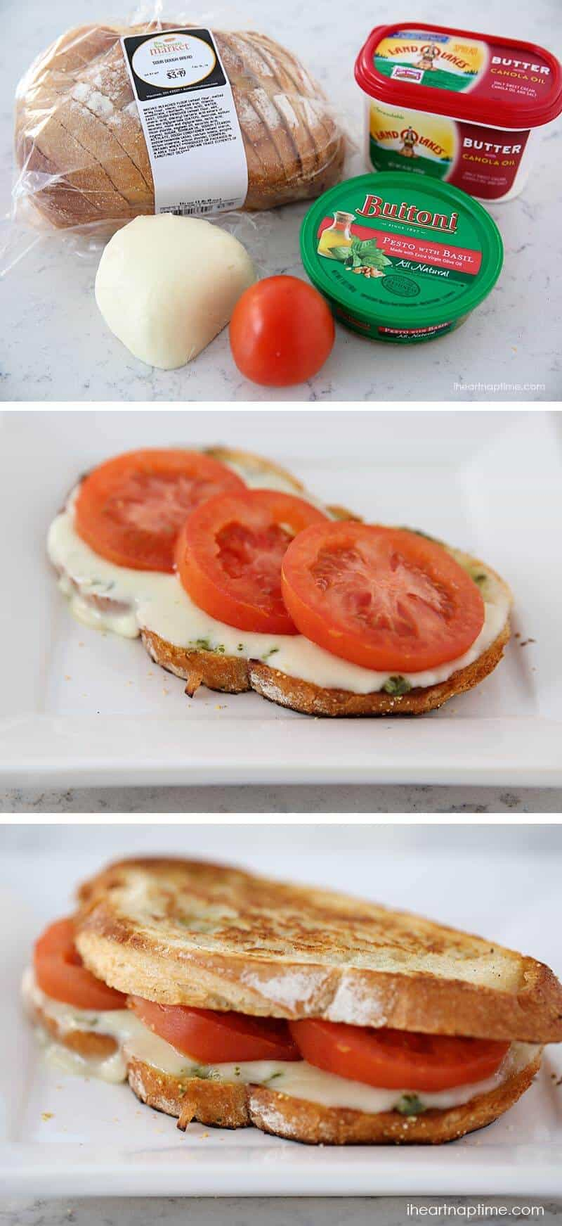 Grilled caprese sandwich stuffed with fresh mozzarella, tomatoes and basil pesto!