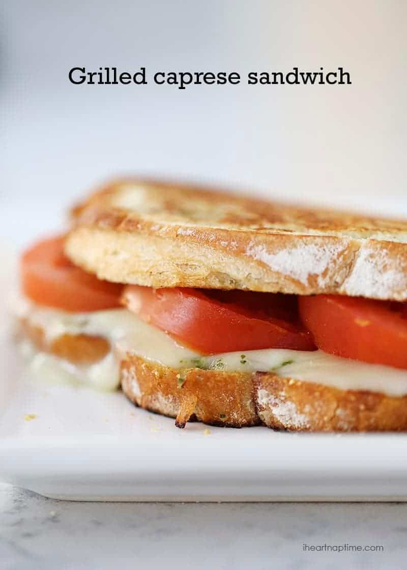 Grilled caprese sandwich stuffed with fresh mozzarella, tomatoes and ...