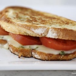 Grilled pesto caprese sandwich