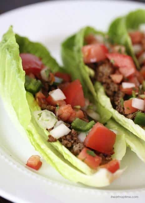 lettuce taco cups on plate