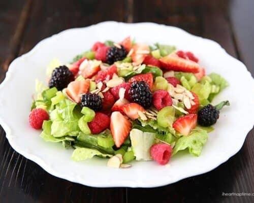 summer salad with lemon dressing on plate