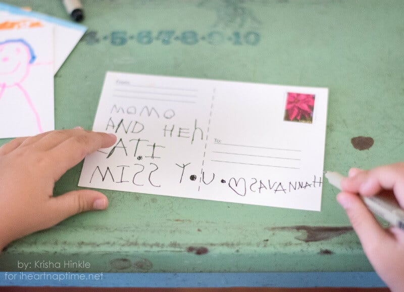 Kid Made Postcards on iheartnaptime.com